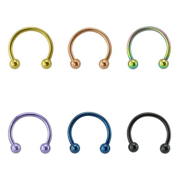 Anodized Titanium 16 Gauge Neon Color Horse Shoe Rings (Pack of 6)