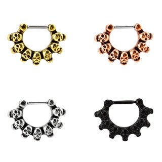 Supreme Jewelry Steel Septum Clicker with Skulls Value Pack (Pack of 4)