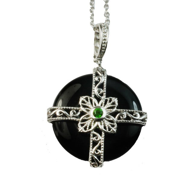 Dallas Prince Silver Black Onyx & Chrome Diopside Pendant