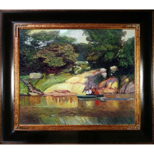 Edward Potthast 'Boating in Central Park' Hand Painted Framed Canvas Art 16894460