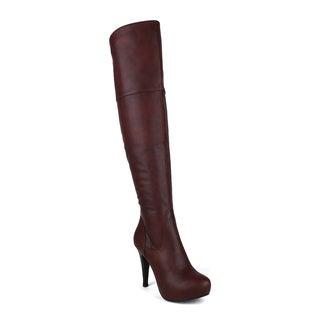 Fahrenheit DANIELA-02 Fringe Moccasin Wedge Women's Knee High Boots