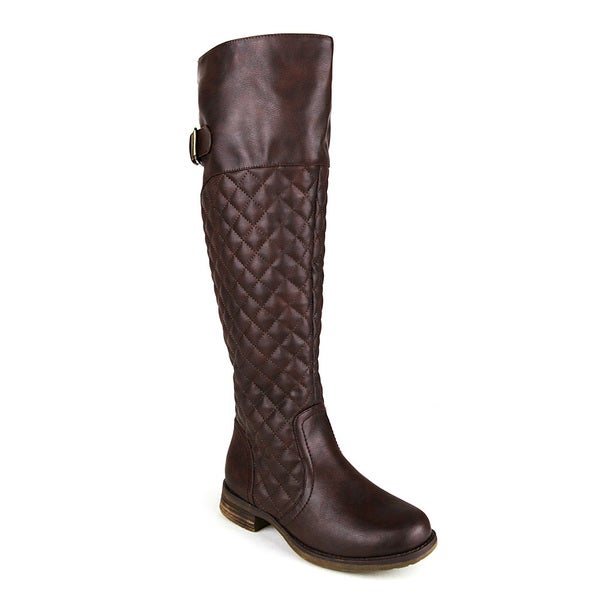 Mark and Maddux emilio-06 Minimalist Buckle and Quilt detailed Women's Knee-High Boot