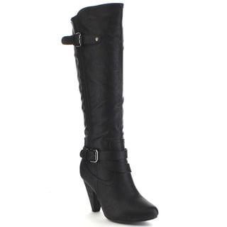 Wild Diva MERTON-34 Women's Motorcycle High Heel Zipper Knee High Riding Boots