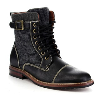 POLAR FOX MPX-808566 Men's Cap Toe Stitching Buckled Lace Up Combat Booties