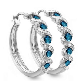 Sterling Silver 7/8ct TDW Blue and White Round Diamond Hoop Earrings (I-J, I2-I3)