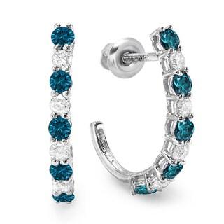 10k White Gold 1/2ct TDW Blue and White Diamonds Hoop Earrings (H-I, I1-I2)