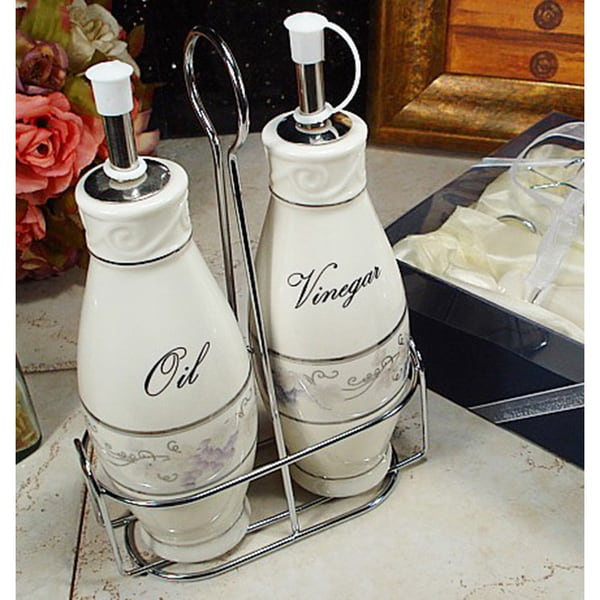 D'Lusso Designs Grape Design 2-piece Oil Vinegar Cruet Set with Metal Caddy