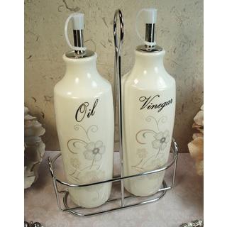 D'Lusso Designs Shimmer Design 2-piece Oil Vinegar Cruet Set with Metal Caddy