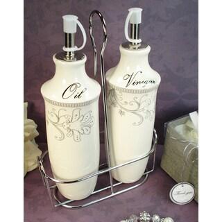 D'Lusso Designs Damask Design 2-piece Oil Vinegar Cruet Set with Metal Caddy