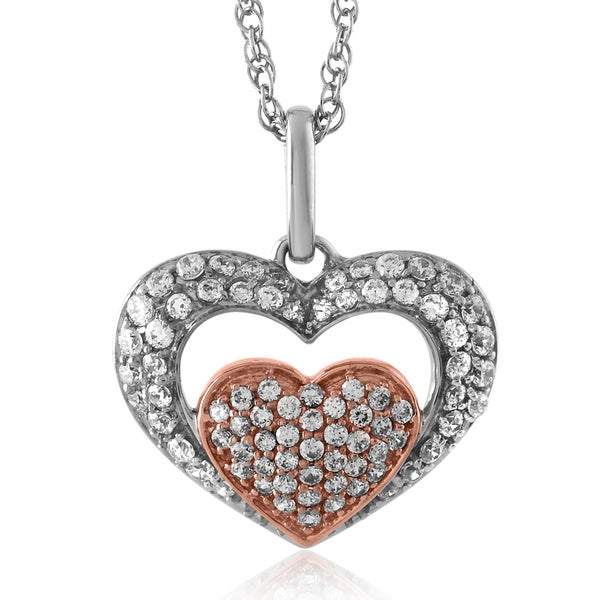 Bridal Symphony Sterling Silver with Rose Gold Plate 0.34CTtw Heart Pendant (I-J, I2-I3)