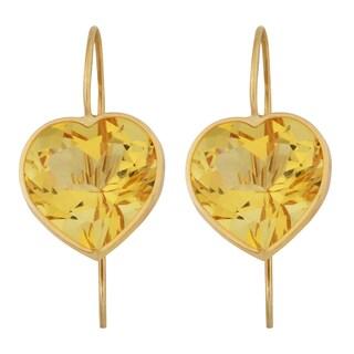 Fremada 14k Yellow Gold 12mm Citrine Heart Hook Earrings