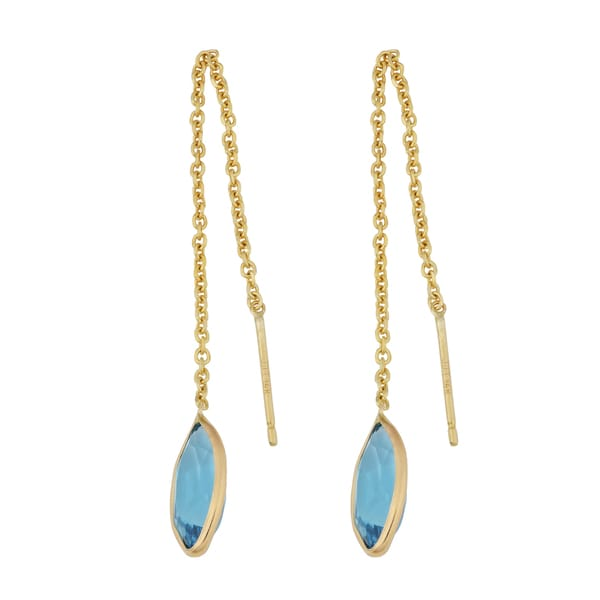 Fremada 14k Yellow Gold Marquise Blue Topaz Threader Earrings