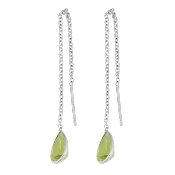 Fremada 14k White Gold Pear-shaped Peridot Threader Earrings