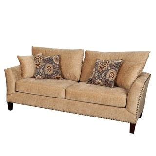 Porter Southern Accent Camel Microfiber Sofa with Nail Head Trim and Woven Ikat Accent Pillows