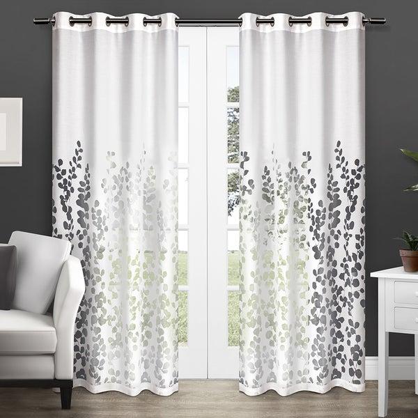 ATI Home Wilshire Burnout Sheer Grommet Top Curtain Panel Pair