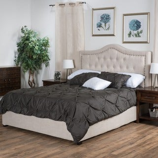 Christopher Knight Home Dante Upholstered Queen Tufted Fabric Bed Set