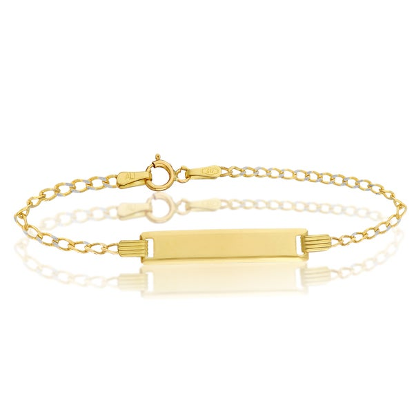 Pori 10k Solid Gold Baby ID Cuban Pave Chain Bracelet