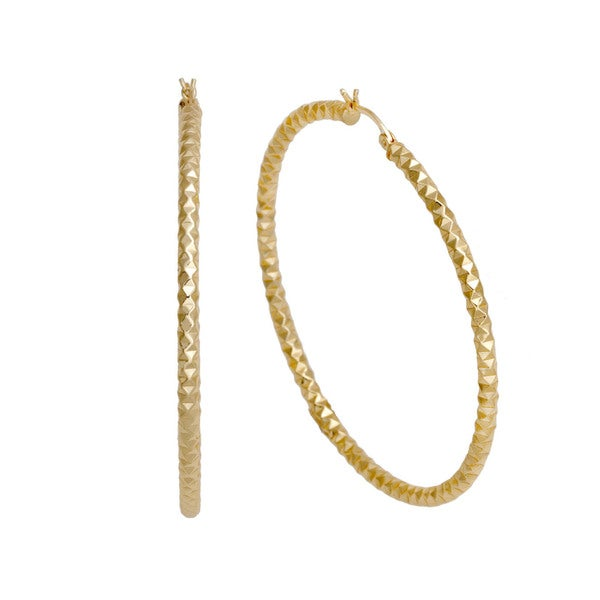 Pori 14K Gold plated Double Diamond-cut Large Hoop Earrings