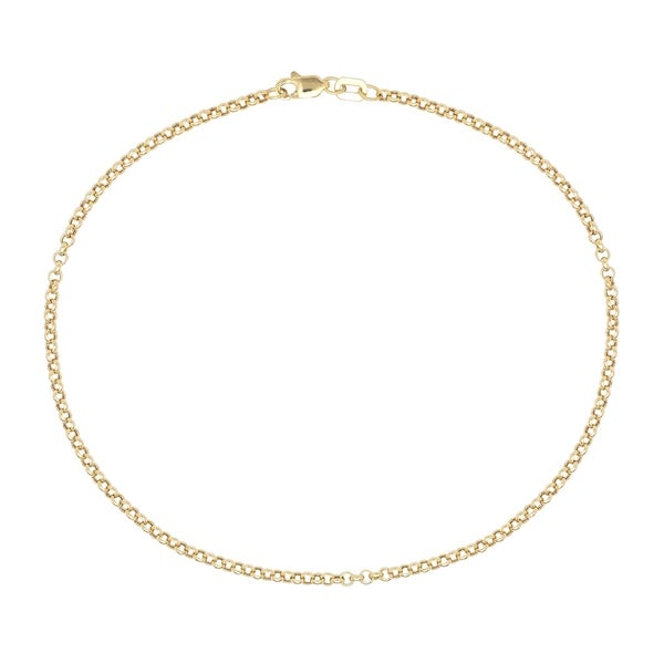 Pori 10K Solid Gold Rolo Chain Anklet