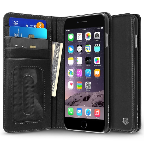 Cobble Pro Black Genuine Leather Case Cover with Stand/ Card Slot/ Photo Display For Apple iPhone 6 Plus/ 6s Plus