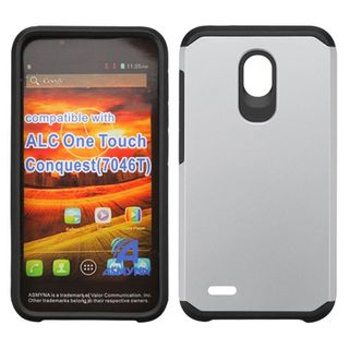Insten Silver/ Black Hard PC/ Silicone Dual Layer Hybrid Rubberized Matte Case Cover For Alcatel One Touch Conquest