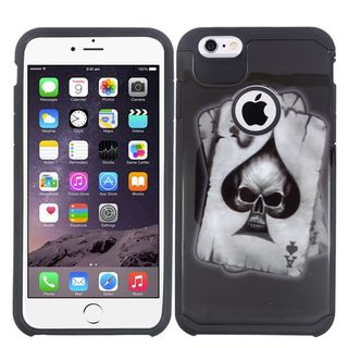 Insten Black/ White Spade Skull Hard PC/ Silicone Dual Layer Hybrid Rubberized Matte Case Cover For Apple iPhone 6 Plus/ 6s Plus