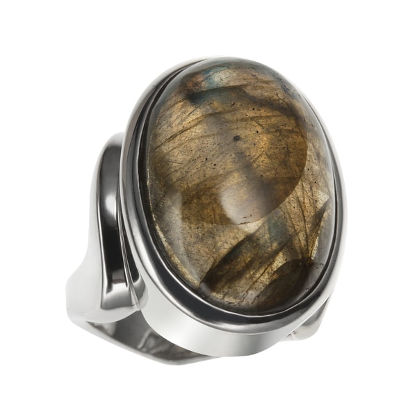 Sterling Silver 13.75ct 22x15mm Oval Labradorite North-South Ring