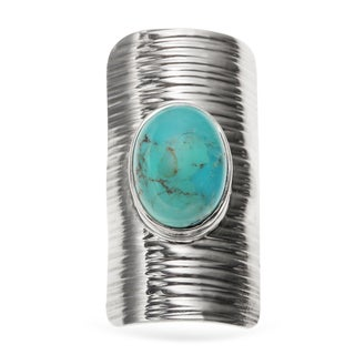 Sterling Silver 5.95ct 14x10mm Oval Turquoise Sheild Ring