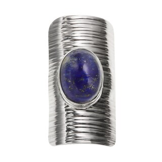Sterling Silver 5.20ct 14x10mm Oval Lapis Sheild Ring
