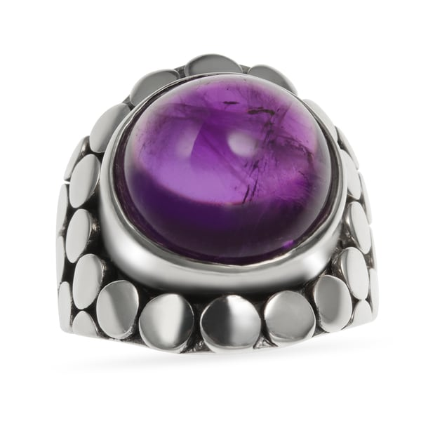 Sterling Silver 9.64ct 13mm Round Rough Amethyst Oxidized Ring