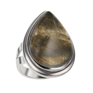 Sterling Silver 11.23ct 22x14mm Labradorite Pear Shaped Ring
