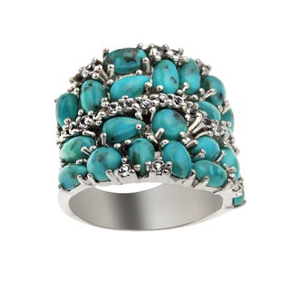 Sterling Silver 4.64ct Turquoise and White Topaz Band Ring