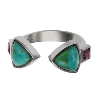 Sterling Silver 2.658ct Turquoise and Amethyst Bypass Ring
