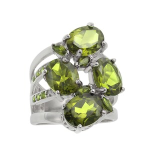 Sterling Silver 7.646ct Multi Shaped Peridot Cluster Ring