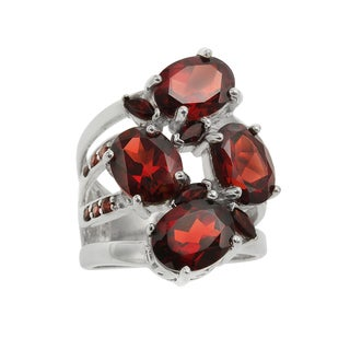 Sterling Silver 8.41ct Multi Shaped Garnet Cluster Ring