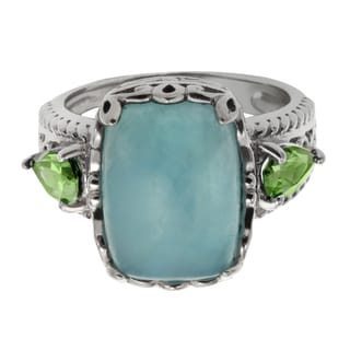 Sterling Silver 6.02ct 14x10mm Cushion Shaped Milky Aquamarine and Peridot Ring