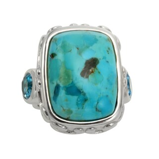Sterling Silver 13.4ct 20x15mm Turquoise and Blue Topaz Ring