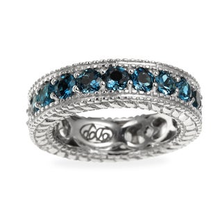 Sterling Silver 2.91ct London Blue Topaz and White Zircon Reversible Eternity Band Ring