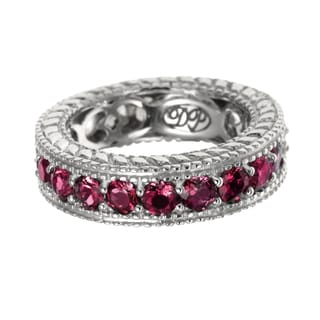 Sterling Silver 3.21ct Rhodolite Garnet and White Zircon Reversible Eternity Band Ring