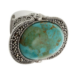 Sterling Silver 20.194ct 22x17mm Oval Turquoise and Marcasite Ring