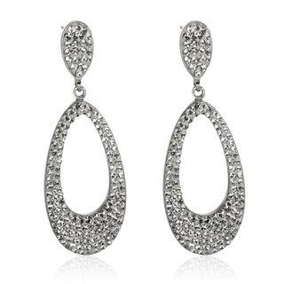 Sterling Silver 2.5-inch White Crystal Dangle Earrings
