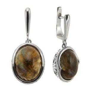 Sterling Silver 1.25-inch 16x12mm Oval Labradorite Drop Earrings