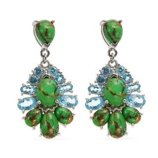 Sterling Silver 1.25-inch Swiss Blue Topaz and Green Mohave Turquoise Drop Earrings