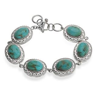 Sterling Silver 14x10mm Kingman Turquoise Line Bracelet
