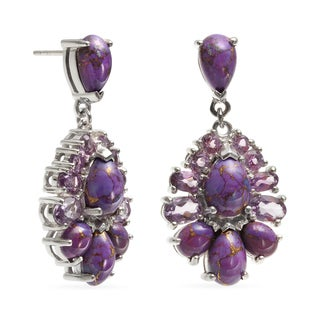 Sterling Silver 1.25-inch Amethyst and Purple Mohave Turquoise Drop Earrings