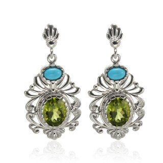 Sterling Silver 1.5-inch Sleeping Beauty Turquoise and Peridot Earrings