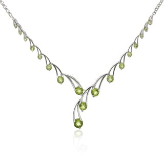 Sterling Silver 10.80ct Round Peridot Drop Necklace