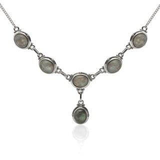 Sterling Silver 10x8mm Labradorite Drop Necklace