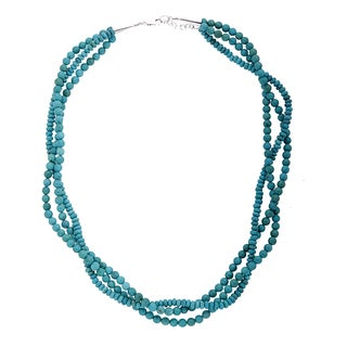 Sterling Silver Turquoise Bead Twisted Three Strand Necklace