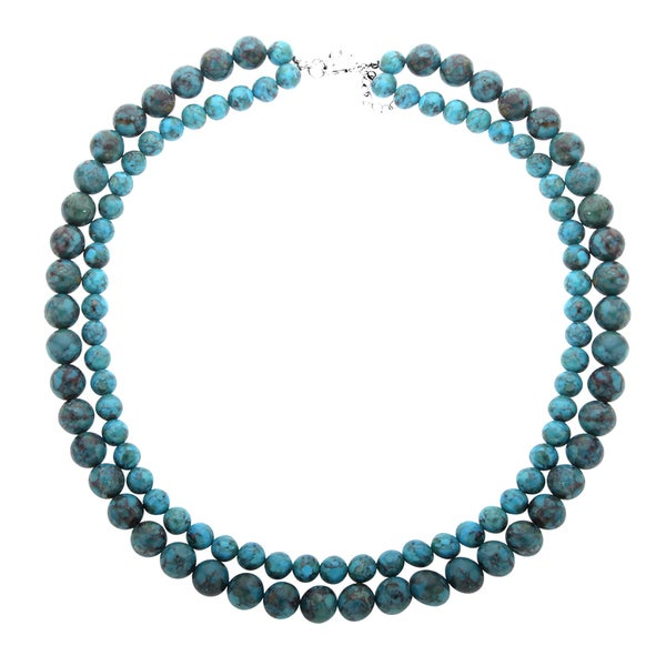 Sterling Silver Turquoise Two-Row Beaded Necklace